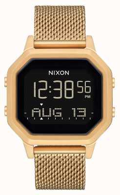 Nixon Sirene Milanese | alle goud | digitaal | gouden ip stalen mesh armband A1272-502-00