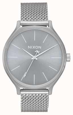 Nixon Clique milanese | geheel zilver | roestvrijstalen mesh-armband | zilveren wijzerplaat A1289-1920-00