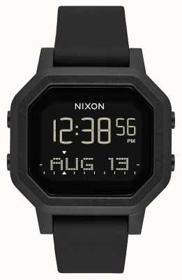 Nixon Sirene | helemaal zwart | digitaal | zwarte siliconen band A1311-001-00