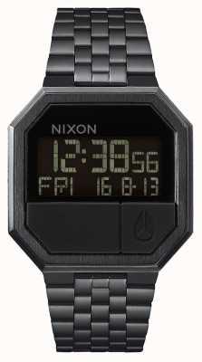 Nixon Herhaal | helemaal zwart | digitaal | zwarte ip stalen armband A158-001-00
