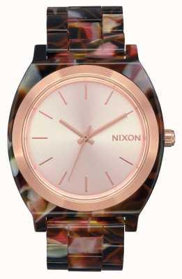 Nixon Time teller acetaat | rose goud / roze schildpad | rose gouden wijzerplaat A327-3233-00