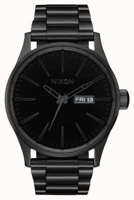 Nixon Sentry ss   helemaal zwart / zwart   zwarte ip stalen armband   zwarte wijzerplaat A356-1147-00