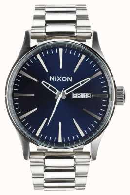 Nixon Sentry ss | blauwe zonnestraal | roestvrijstalen armband | blauwe wijzerplaat A356-1258-00