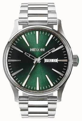 Nixon Sentry ss | groene zonnestraal | roestvrijstalen armband | groene wijzerplaat A356-1696-00