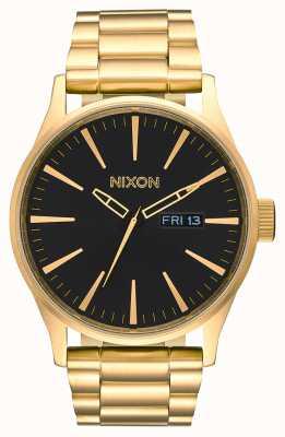 Nixon Sentry ss | geheel goud / zwart | gouden ip stalen armband | zwarte wijzerplaat A356-510-00