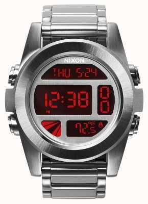 Nixon Eenheid ss | zilver / rood | digitaal | roestvrij stalen armband A360-1263-00