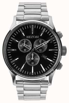 Nixon Sentry chrono | zwart | roestvrijstalen armband | zwarte wijzerplaat A386-000-00