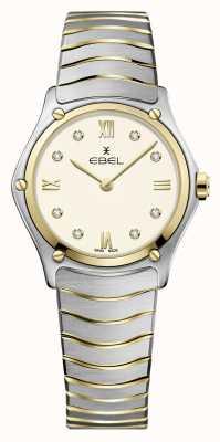 EBEL Sportklassieker voor dames | tweekleurige roestvrijstalen armband | ivoren wijzerplaat 1216418A