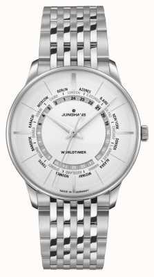 Junghans Meister worldtimer saffierglas | roestvrijstalen armband | zilveren wijzerplaat 027/3011.46