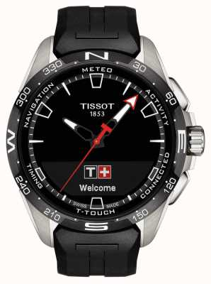 Tissot T-touch connect solar | zwarte siliconen band T1214204705100