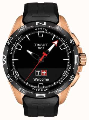 Tissot T-touch connect solar | zwarte siliconen band T1214204705102
