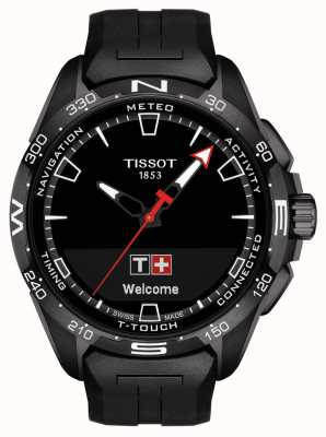 Tissot T-touch connect solar | zwarte siliconen band T1214204705103