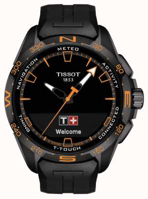 Tissot T-touch connect solar | zwarte siliconen band T1214204705104