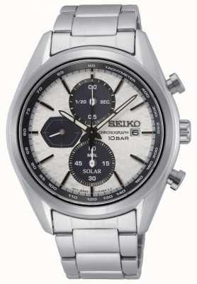 Seiko Solar voor heren | roestvrijstalen armband | zilveren chronograaf wijzerplaat SSC769P1