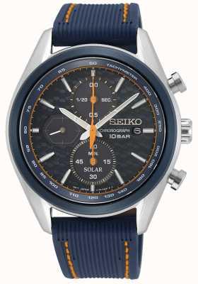 Seiko Solar voor heren | blauwe siliconen band | blauwe chronograaf wijzerplaat SSC775P1