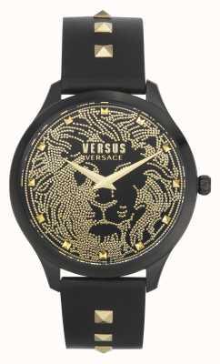 Versus Versace | vrouwen | domus | zwarte leren band | zwarte wijzerplaat | VSPVQ0520