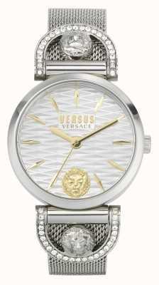 Versus Versace Iseo voor dames | roestvrijstalen mesh-armband | witte wijzerplaat VSPVP0420