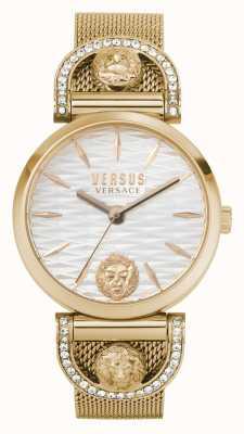 Versus Versace Iseo voor dames | roségouden mesh armband | witte wijzerplaat VSPVP0720