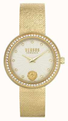 Versus Versace | vrouwen | lea | gouden mesh armband | champagne wijzerplaat | VSPEN1520