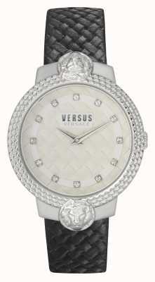 Versus Versace | vrouwen | mouffetard | zwarte leren band | witte wijzerplaat | VSPLK1120