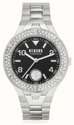 Versus Versace Vrouwenvittoria | roestvrijstalen armband | zwarte wijzerplaat VSPVO0520