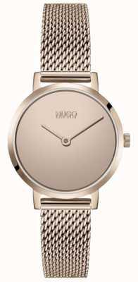 HUGO #cherish | roségouden pvd mesh armband | gouden wijzerplaat 1540085