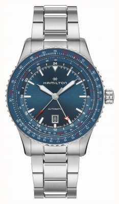 Hamilton Khaki luchtvaart converter auto gmt | roestvrij stalen armband H76715140