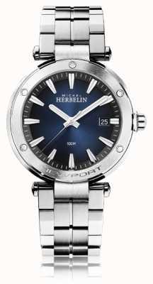 Michel Herbelin Newport voor heren | roestvrijstalen armband | blauwe wijzerplaat 12288/B15