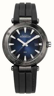 Michel Herbelin Newport voor heren | zwarte rubberen band | blauwe wijzerplaat 12288/G15CA