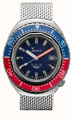 Squale 2002a blauw-rood | stalen mesh band | blauwe wijzerplaat B083401-CINSS22