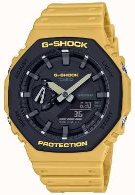 Casio g-shock | koolstof kern | gelaagde bezel | gele rubberen band | GA-2110SU-9AER