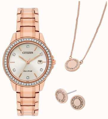Citizen Eco-drive roségoud vergulde cadeauset met horloge en sieraden FE1173-52A