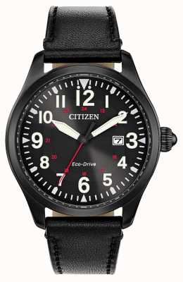 Citizen Garrison Military Eco Drive voor heren | zwarte leren band BM6835-15E