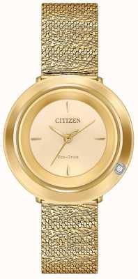 Citizen Ambiluna voor dames | goudkleurige mesh armband | champagne wijzerplaat EM0642-52P