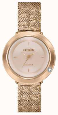 Citizen Ambiluna voor dames | roségouden mesh armband | parelmoer wijzerplaat EM0643-50X