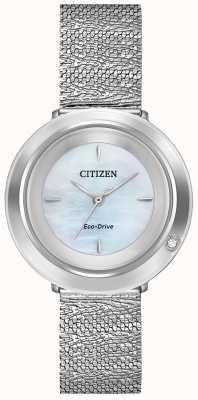 Citizen Ambiluna voor dames | stalen mesh armband | parelmoer wijzerplaat EM0640-58D