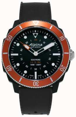 Alpina Seastrong | horologische smartwatch | zwarte siliconen band | oranje ring AL-282LBO4V6