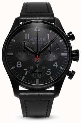 Alpina Startimer piloot chrono | zwarte leren band AL-372BB4FBS6