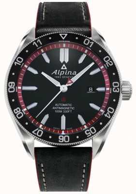 Alpina Alpiner 4 | zwarte leren band | zwarte wijzerplaat | automatisch AL-525BR5AQ6
