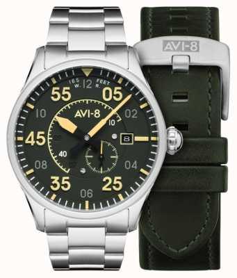 AVI-8 Heethoofd | automatisch | groene wijzerplaat roestvrijstalen armband | extra leren riem AV-4073-22