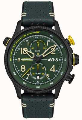 AVI-8 Hawker jager | chronograaf | groene wijzerplaat | groene lederen band AV-4080-03
