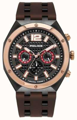 Police | heren | kediri horloge | bruine rubberen band | 15995JSBR/61P