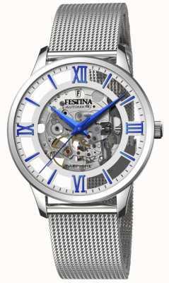 Festina Automatisch skelet voor heren   stalen mesh armband   zilver / blauwe wijzerplaat F20534/1