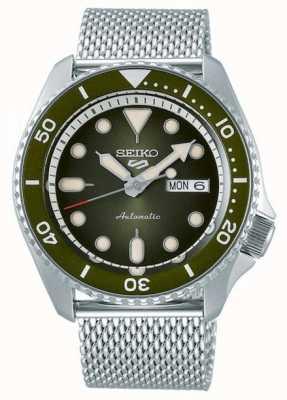 Seiko 5 sporten | heren | stalen mesh armband | groene wijzerplaat | SRPD75K1