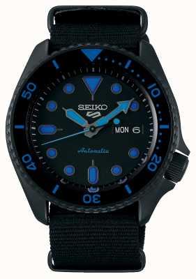 Seiko 5 sporten | heren | zwarte nylon riem | zwart / blauwe wijzerplaat SRPD81K1