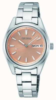 Seiko Dames quartz roestvrijstalen armband roségouden wijzerplaat SUR351P1