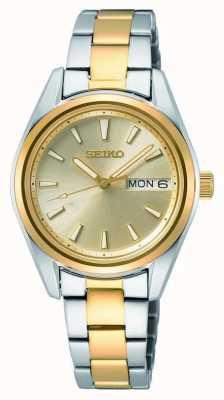 Seiko Kwarts voor dames | tweekleurige stalen armband | sunray wijzerplaat SUR354P1