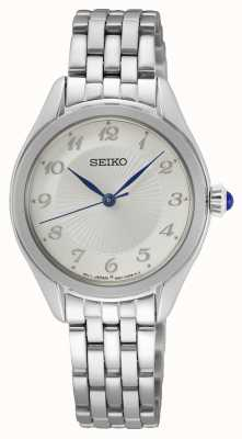 Seiko Kwarts voor dames | roestvrijstalen armband | zilveren wijzerplaat SUR379P1