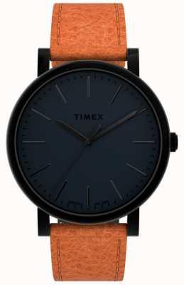 Timex Originelen 42 mm | zwarte wijzerplaat | bruin lederen band TW2U05800