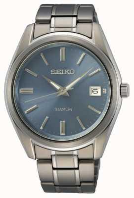 Seiko Titanium blauwe wijzerplaat voor heren SUR371P1